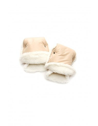 Муфта-рукавицы на коляску бежевые овчина
