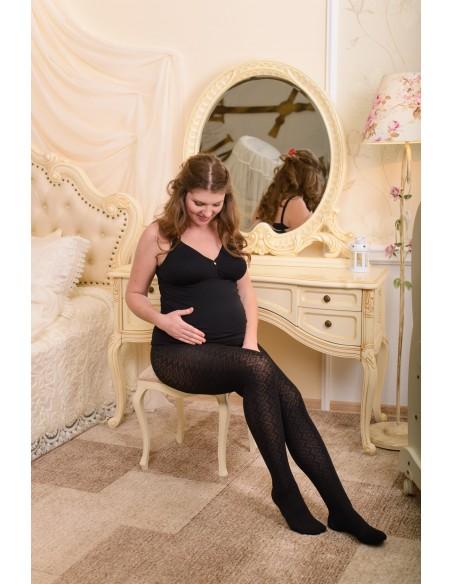 Колготы для беременных 320 DEN хлопковые с рисунком Магнолия