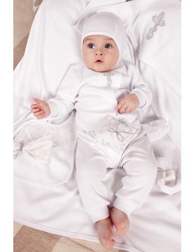 Набор крестильный для новорожденного из хлопка